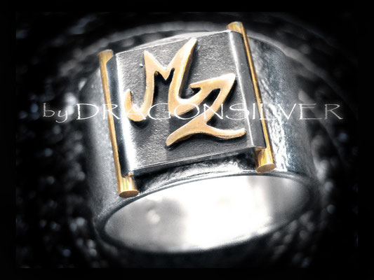 MZ Ring - Gelbgold - Sterling Silber