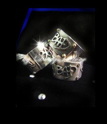 Jackson Tribute Schmuck - Einzelstücke- Sterling Silber - Gold/Edelstahl Schrauben- Ring Bad