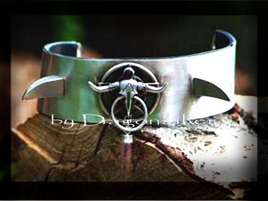 Halsmanschette Wicca - Sterling Silber - Edelstahldornen - Amethyst