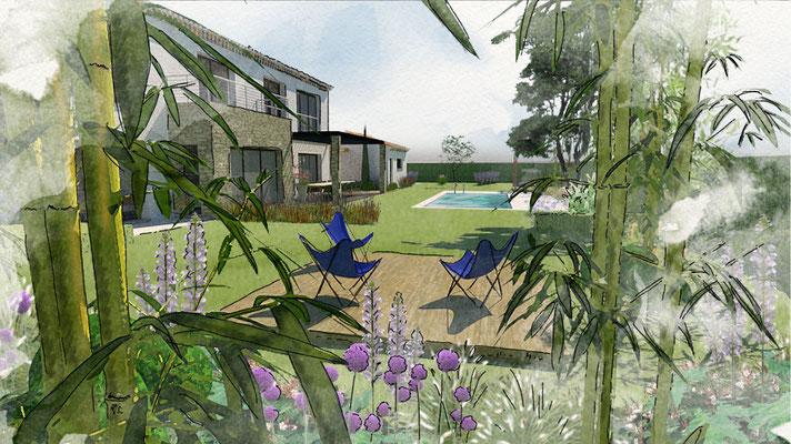 Aménagement d'un jardin à Puyricard © Rc-Paysage