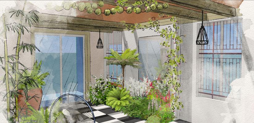 Conception d'un patio à Aix-en-Provence © Rc-Paysage