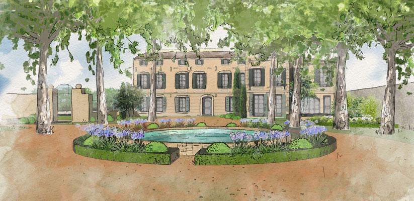 Conception des jardins d'un domaine privé à Puyricard © Rc-Paysage