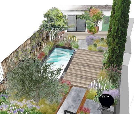 Création d'un jardin avec piscine à Marseille © Rc-Paysage