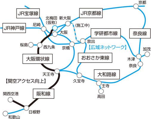 北梅田駅を含む路線図