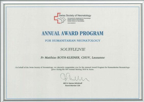 Prix humanitaire de la Société Suisse de Néonatologie, gagné par souffle2vie en 2019 ( 22 janvier 2019)