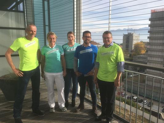 Une partie de l'équipe des coureurs/coureuses2 vie du CHUV; Lausanne Marathon 2018 (28 octobre 2018)