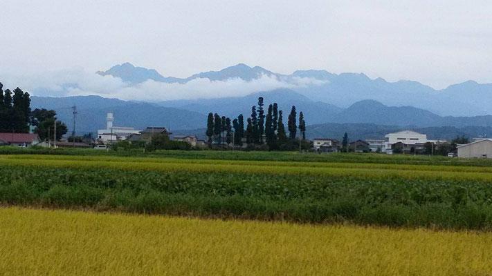 立山町から見えた劔・立山連峰