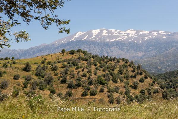 die schneebedeckten Berggipfel im Landesinnern