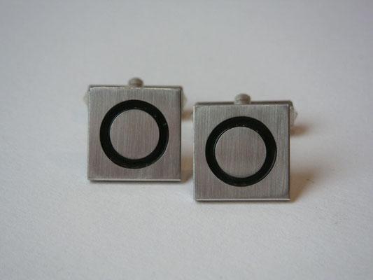 Manschettenknöpfe aus 925er Sterling Silber mit schwarzen Kreis