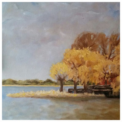 """Mündesee im Herbst""  40 x 40 cm"