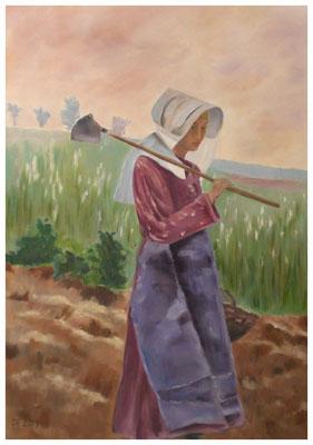 """""""Landarbeiterin"""" nach Karl Hagemeister 50 x 70 cm (verkauft)"""
