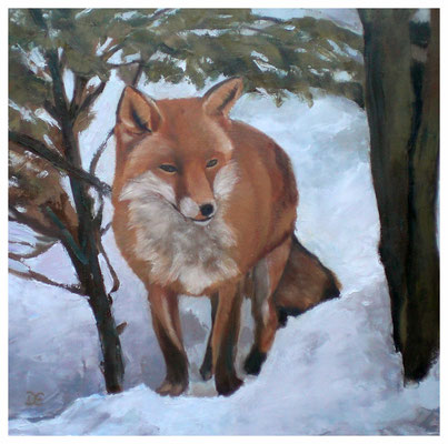 """""""Fuchs im Schnee""""  40 x 40 cm"""