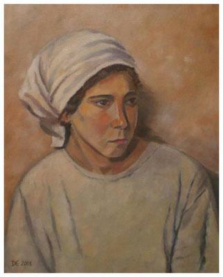 """""""Bauernmädchen""""  nach Werner Weber  50 x 40 cm (verkauft)"""