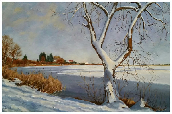 """Winter am Mündesee"" 40 x 60 cm"