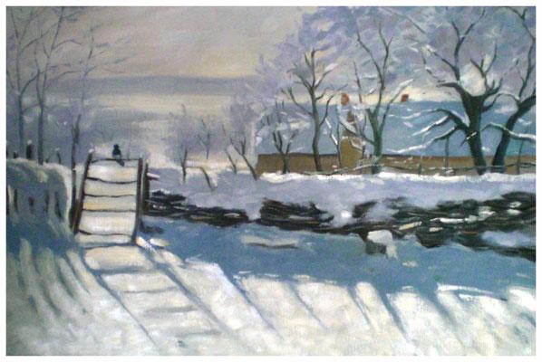 """""""Winter"""" nach Claude Monet  40 x 60 cm"""