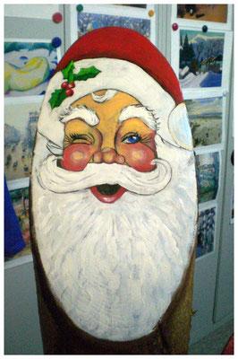 """""""Weihnachtsmann II"""" auf Holzstamm (verkauft)"""