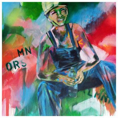 """Auf dem Bau""  80 x 80 cm (verkauft)"