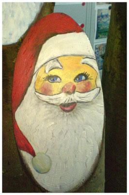 """""""Weihnachtsmann III"""" auf Holzstamm (verkauft)"""
