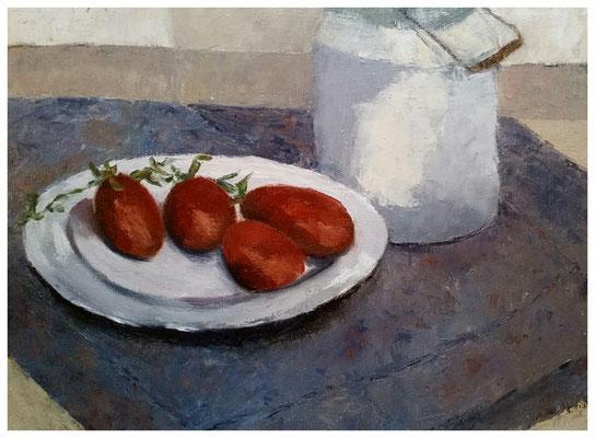 """""""Milchkanne mit Tomaten""""  30 x 40 cm"""
