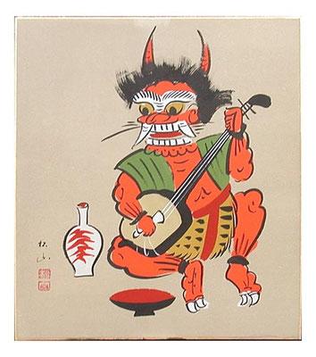 この大津絵の三味線弾く鬼は、「お岩木様一代記」の、天の岩戸前で太鼓三味線打ち鳴らす「sんんそう太夫」のイメージと重なるような。