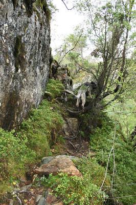 Kritische Stelle zum Klettern.