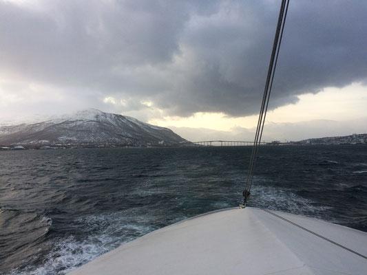 Fahrt durch die wunderschöne Winterfjordlandschaft.