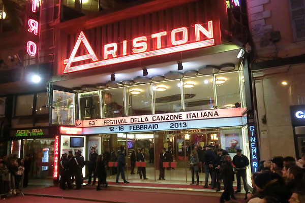Ariston Theatre, at the beginning of Via Matteotti, where every year in February the Italian Song Festival is held