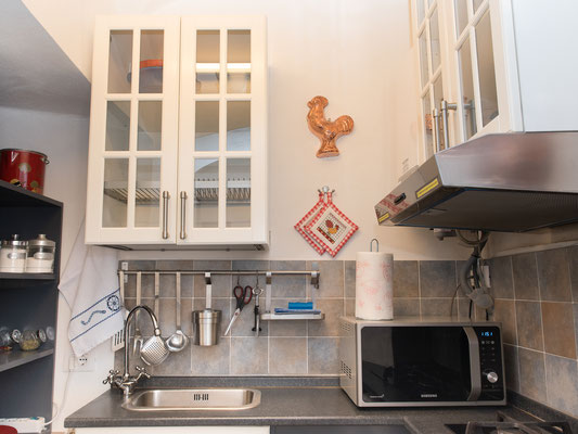 Kitchenette - Sink, microwave, gas stoves, and various cooking stuff