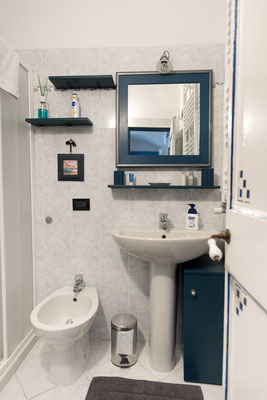 Bathroom - Entrance with sink, mirror, shelf and bidet