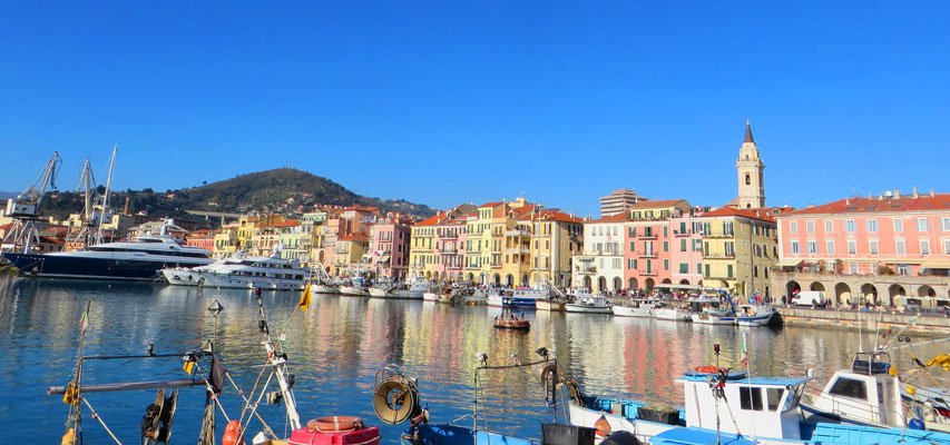 Oneglia harbour, with typical Ligurian houses on the sea