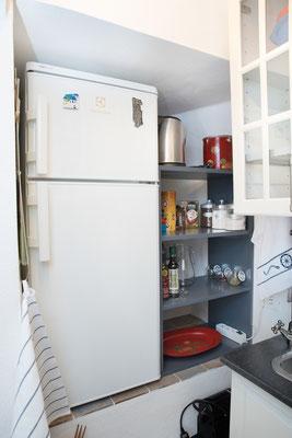 Kitchenette - Fridge, Nespresso coffe machine and some foods for cooking (salt, sugar, pepper, tea, coffee, olive oil, balsamic vinegar, spices) at disposal of the guests