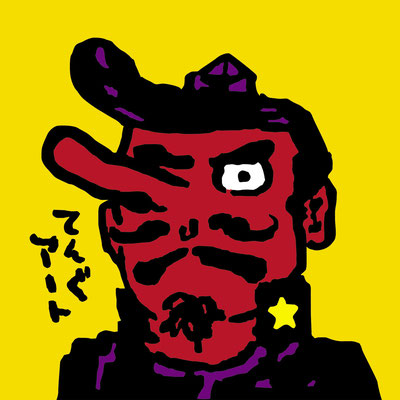てんぐアート/畠瀬廉:岡山県出身 東京在住 男 創作活動をしようと思い立った時、メインのモチーフがあった方がやりやすいと考えて、存在は知っているのに何なのかわからない「天狗」をモチーフに決めました。調べながら作る。好都合。普段はデザインしたりイラストを描く仕事をしています。