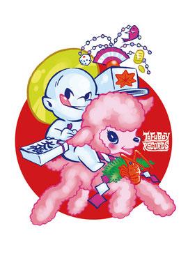 鈴木 旬(すずきしゅん):1986年鳥取県出身。  ケレン味の効いたタッチを得意とするイラストレーター。  これまでにTシャツ、CDジャケット、フライヤーなどのデザイン、似顔絵、  また「ゲゲゲの鬼太郎」、「大特撮巨編ネギマン」などのライセンス商品のキャラクターイラストも手掛ける。
