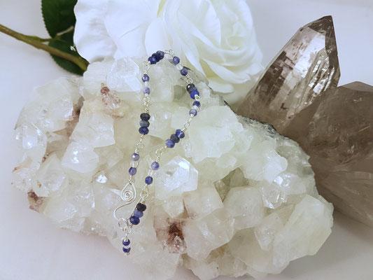 Sodalith und Bergkristall auf Silber, 18,5cm lang     €28