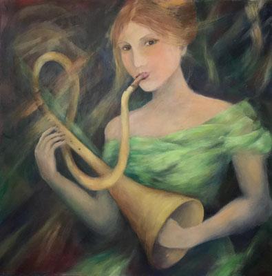 Die Trompete, 100x100 cm