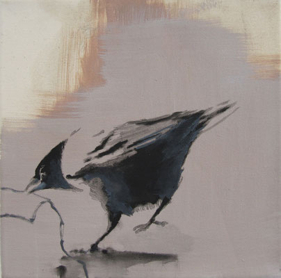 crow#8, 25 x 25 cm, Tempera/LW, 2017, in Privatbesitz