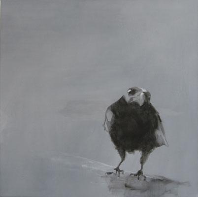 crow#4, 70 x70 cm, Tempera/LW, 2017,