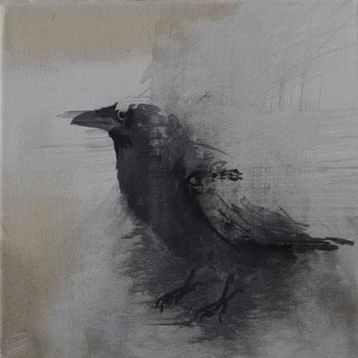 crow#1, 25 x 25 cm, Tempera/LW, 2016, in Privatbesitz