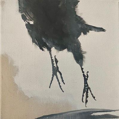 crow#14, 25 x 25 cm, Tempera/LW, 2021, in Privatbesitz