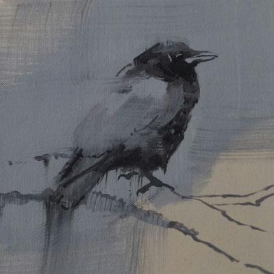 crow#2, 25 x 25 cm, Tempera/LW, 2016, in Privatbesitz