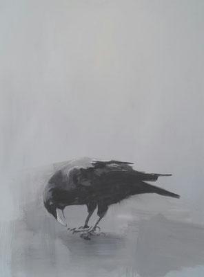crow#10, 80 x 60 cm, Tempera/LW, 2017