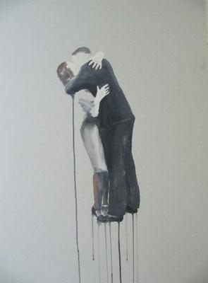 o.T., 80 cm x 50 cm, Tempera/Passpartoutpappe, 2014
