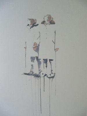 o.T., 80 cm x 52 cm, Tempera/Passpartoutpappe, 2014