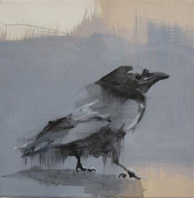 crow#5, 25 x 25 cm, Tempera/LW, 2016,