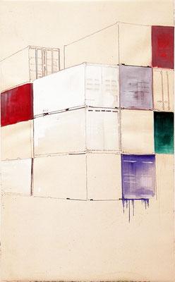 continere#1, 130 x 80 cm, Graphit, Öl, LW, 2020