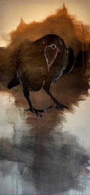 crow#11, 200 x 90 cm, Tempera/Öl/LW, 2017,