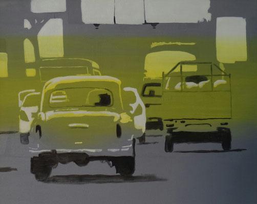 traffic#2, 46 cm x 75 cm, Tempera/Öl/LW, 2017