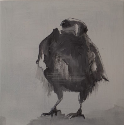 crow#3, 40 x 40 cm, Tempera/LW, 2017,