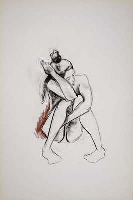 1999, #33, fusain et sanguine sur papier, 61 x 91 cm. - Charcoal and red chalk on paper, 24 x 36