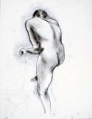 1991, #76, fusain sur papier, 45 x 61 cm. - Charcoal on paper, 18 x 24